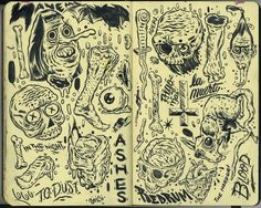 I'm making a deck design for Corpse Corp Skateboards. Here's some of my process drawings. Arte Grunge, Arte Sketchbook, Funky Art, Chef D Oeuvre, Sketchbook Inspiration, You Draw, Psychedelic Art, Art Drawings Sketches, Aesthetic Art