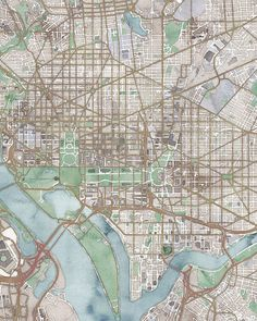 Washington, DC Map Canvas or Print in Antique Watercolor, Available in 18 Sizes