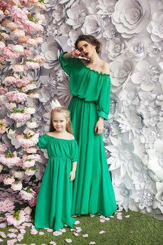 Smaragd-zarte  passender Mutter und mir Kleider Familie