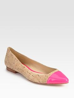 Kate Spade New York Ellie Point-Toe Cork & Patent Leather Flats