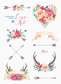 Love Kit 2. Watercolor Clipart peonies arrows by OctopusArtis