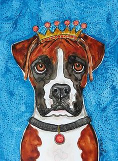 King Boxer Dog Painting by Melinda Dalke 20% donation to Boxer Luv Rescue