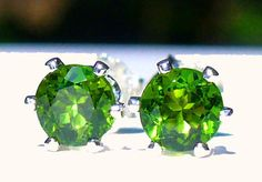 NEW Sterling Silver EARRINGS 4.5mm 1/3ct each AAA Green Russian CHROME DIOPSIDE #Handmade #Stud