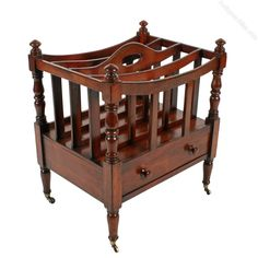 Antique Furniture Popular Brand Antique Georgian Style Mahogany Canterbury Magazine Rack