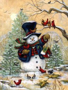 Christmas art, snowman art by renowned painter Janet Stever. Christmas Scenes, Vintage Christmas Cards, Christmas Pictures, Christmas Snowman, All Things Christmas, Winter Christmas, Christmas Holidays, Christmas Crafts, Merry Christmas