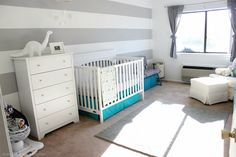 Project Nursery - Horizontal Stripes Accent Wall in this Modern Nursery