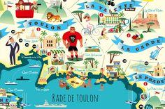 Monsieur Z-Illustrations Cote dazur Map Design, Advertising Poster, All Poster, Map Art, Provence, Vintage Travel, Illustrations Posters, Vintage Illustrations, Travel Posters