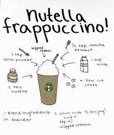 Frappuccino Recipe, Nutella Recipes, Coffee Drink Recipes, Coffee Drinks, Starbucks Secret Menu Drinks, Dessert Drinks, Desserts, Diy Food, Recipes