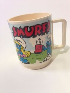 Vintage 1980s Smurfs Cartoon Childrens Plastic Cup Mug by Deka Made in USA