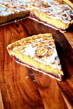 Cherry Bakewell Tart - a classic British tart with a storied history, flavoured with delicious cherry jam and a delicate almond-infused frangipane sponge. Tart Recipes, Baking Recipes, Sweet Recipes, Dessert Recipes, Tray Bake Recipes, Cherry Bakewell Tart, Cherry Tart, Bakewell Cake, Frangipane Recipes