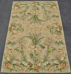 6'x9' Handmade Handstitched Mixed Stitches Tropical Foliage Needlepoint Area Rug