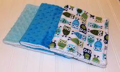 Baby Burp Cloths/ Minky Owls/ Blue Minky by DarlenesNeedlesnPins