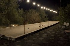 Bocce Ball Court with lights and shade trees