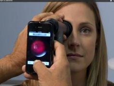Welch Allyn's iExaminer Adapter connects an ophthalmoscope — used to detect conditions like retinal detachment or glaucoma — to an iPhone. The iExaminer app on the phone allows users to store the pictures to a patient file or email and print them.