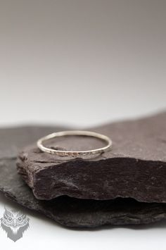 Skinny Hammered Sterling Silver Stacking Ring by CuriousOwlShop