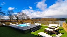 The vitality spa pool in the lavender scented garden