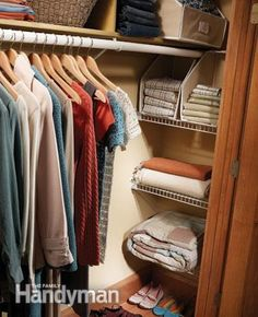 Bookcase and Shelf Tips : Make the hard to reach ends of your closet more accessible with diy shelves