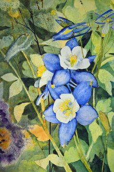 Peinture à l'aquarelle Columbine beaux-arts peinture aquarelle originale peinture aquarelle florale originale peinture original vert bleu jaune