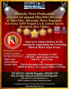 Diversity Pageants calls on other Multicultural, Diversity and Inclusions organizations to join and partner with them by supporting the upcoming 1st annual Miss/Mrs Diversity & Miss/Mrs Diversity News Pageants Crowning Show and Red Carpet event. HOLLYWOOD, Calif.-Oct. 4, 2016-- Diversity News Productions producer of the upcoming Miss/Mrs Diversity & Miss/Mrs Diversity News Pageants set for…