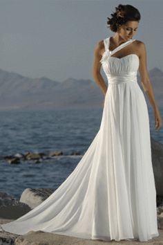 Having a beach wedding is one of the most romantic weddings in the world. Choosing from all the different beach wedding dresses can be one of the most fun things to choose. Do you want to have an elegant and formal wedding, a casual and simple wedding, or a semi-formal or semi-casual wedding? Whichever you choose, you can find the right style of dress for it.Formal weddings are usually considered to be the most romantic. With candles, flowers, and ribbons, you can set the stage even on a
