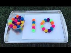 Pom pom number tracing (from childcareland) home activities, number activit Preschool Projects, Preschool Science, Crafts For Kids, Kindergarten Music, Homeschool Kindergarten, Homeschooling, Early Learning, Fun Learning, Learning Resources