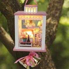 Hoomeda DIY Wood Wind Chimes Dollhouse Miniature With LED Furniture Mini Doll House Room