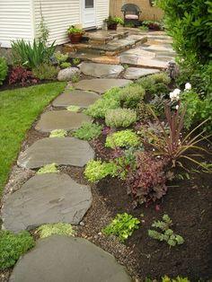 95 Beautiful Side Yard Garden Pathway Design Ideas – Famous Last Words Side Garden, Garden Paths, Garden Hedges, Walkway Garden, Herb Garden, Vegetable Garden, Design Cour, Side Yard Landscaping, Landscaping Ideas
