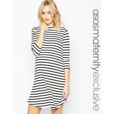 ASOS Maternity Striped Rib Swing Dress (2,365 DOP) ❤ liked on Polyvore featuring maternity and blackwhite