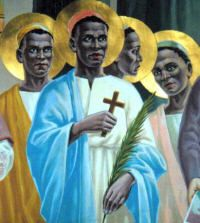 One of 22 Ugandan martyrs, Charles Lwanga is the patron of youth and Catholic action in most of tropical Africa. He protected his fellow pages (aged 13 to 30) from the homosexual demands of the Bagandan ruler, Mwanga, and encouraged and instructed them in the Catholic faith during their imprisonment for refusing the ruler's demands. Charles was burned to death at Namugongo on June 3, 1886, by Mwanga's order.