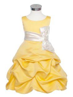Little white and yellow dress for flower girl | Pick Up Skirt Scoop Boknot Satin Yellow and White Flower Girl Dresses