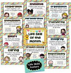 Life Skill of the Month posters- FREE! Lots of themed printables for the classroom.