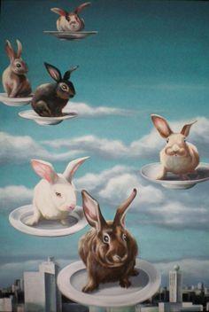 """""""Cuniculus- gekommen, um die Welt zu retten"""" (Rabbits Come to Save the World) by Nadine Gabriel https://www.zeigdeinekunst.de/zdk-portal/artwork/show/50636"""