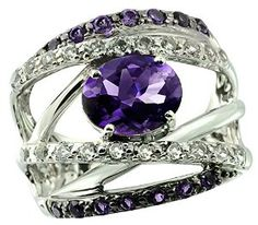3.92 Carats Amethyst with White Topaz Sterling Silver Ring available at joyfulcrown.com