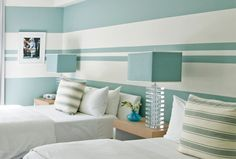 Home - Luxe Interiors + Design Simple Bedroom Design, Bedroom Wall Designs, Accent Wall Bedroom, Bedroom Bed Design, Home Room Design, Bedroom Decor, Blue Painted Walls, Small Balcony Decor, Striped Walls