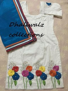Embroidery Suits Punjabi, Embroidery On Kurtis, Kurti Embroidery Design, Hand Embroidery Videos, Hand Embroidery Stitches, Beaded Embroidery, Machine Embroidery Designs, Embroidery Patterns, Salwar Suit Neck Designs
