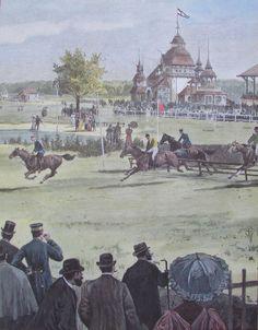 RENNPLATZ CARLSHORST BEI BERLIN Kunstduck print Sportbilder Rennbahn Pferdesport   eBay