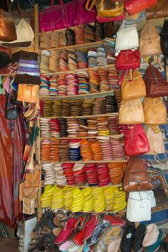 Colourful Babouche Slippers on Display - The Tanneries, Fes, Morocco