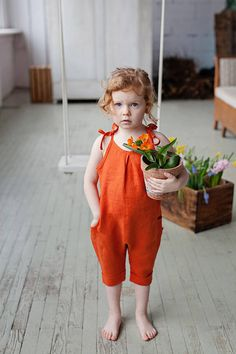 Washed linen girls jumpsuits for simple and casual look. ♥ DESCRIPTION: - made from Oeko-Tex certified 100 % European linen fabric which guarantees you that it meets human - ecological requirements. The linen fabric is of medium weight (185 g). - color in the picture - Rust. Please