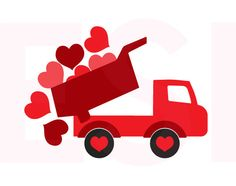 Valentine svg, Truck with falling hearts, SVG, DXF, EPS, for use with Silhouette Cameo and Cricut Explore. Truck svg, Heart svg. by ESIdesignsdigital on Etsy https://www.etsy.com/listing/259176052/valentine-svg-truck-with-falling-hearts