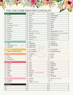 Low Carb Diet Grocery Shopping Checklist List South Beach Keto Paleo Ketogenic Atkins Mediterranean PDF Printable – control de peso y pérdida de peso South Beach, Slim Fast, Fat Fast, Grocery Checklist, Diet Grocery Lists, Tartiflette Recipe, Low Carb Grocery, Low Carb Diets, Low Carb Food List