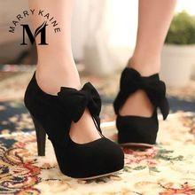Tamaño grande 34-43 nuevo 2015 moda plataforma tacones altos mujeres bombas primavera verano otoño Bowtie Women Shoes Woman no. un(China (Mainland))