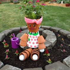 Flower pot girl.. (inspired by Pinterest and now in my moms backyard)
