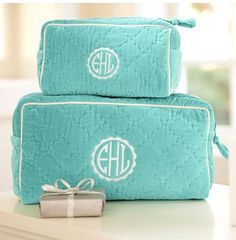Quilted--Monogrammed--make-up bags.