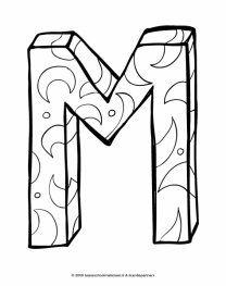 Alfabet Kleurplaat M