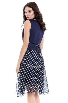 Polka Dot Print Sleeveless Round Collar Belt Design Women's Dress - CADETBLUE XL Mobile