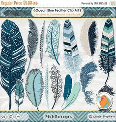 75% SALE Navy Blue Feather Clip Art Indian Summer Digital