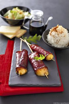 Yakitori à la raclette. Big Meals, No Cook Meals, Canapes, Japanese Food, Entrees, Tapas, Meal Prep, Good Food, Big Food