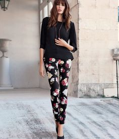 {floral printed slim pants} by H