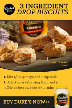 3 Ingredient Recipes, Drop Biscuits, Homemade Biscuits, Biscuit Recipe, Love Food, Food To Make, Breakfast Recipes, Food And Drink, Cooking Recipes
