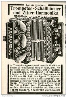 Original-Werbung/Inserat/ Anzeige 1911 - TROMPETEN-SCHALLHÖRNER & ZITTER-HARMONIKA / HUSBERG NEUENRADE - ca. 85 x 55 mm